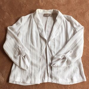 CHICOS Beautiful White Summer Linen Jacket
